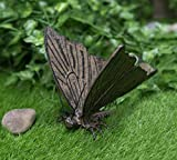 "Ebros Gift 7.5"" Long Cozy Cottage Whimsical Metamorphosis Flitting Monarch Butterfly Rustic Bronze Finished Aluminum Decorative Garden Statue Animal Insect Butterflies Metal Sculpture"