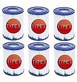 NJYBF Cartuchos de filtro para piscina Bestway II filtro tamaño 2 tipo 2 piscina familiar filtro (paquete de 6)