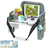 Kids Travel Tray, Toddler Car Seat Tray with Dry Erase Board, Collapsible Lap Car Seat Travel Table Desk w/ iPad Holder, Storage Pocket, Kids Tray for Road Trip, Car Stroller, Airplane, Grey