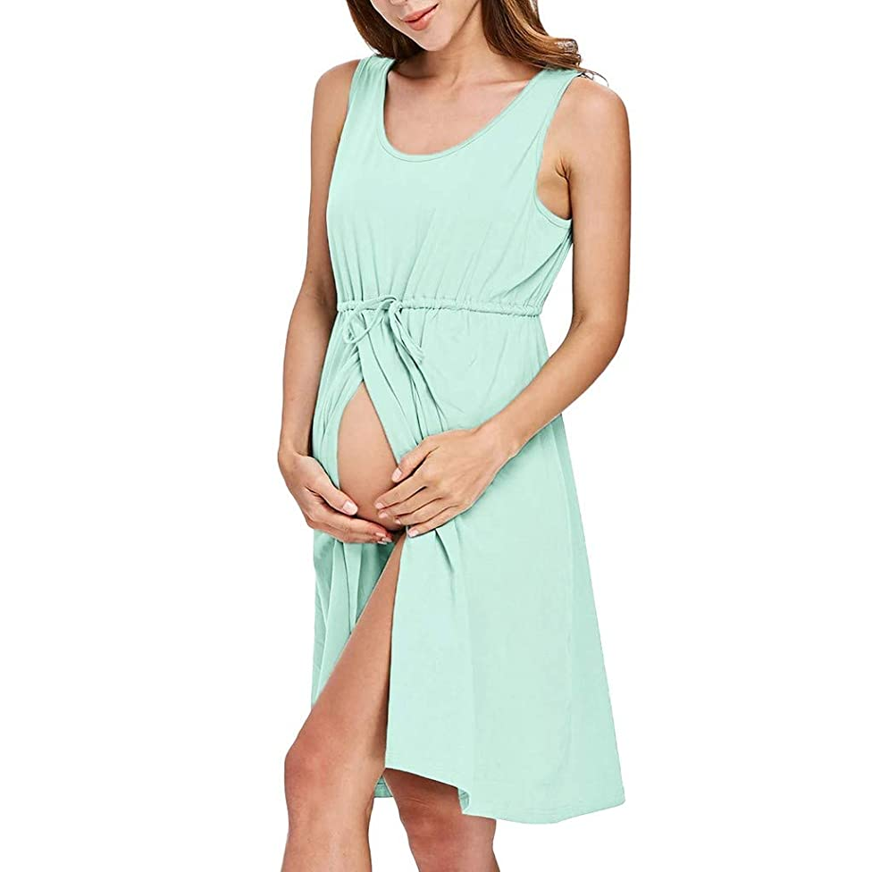BYTWO Pregnant Women Vest Dress Sleeveless Button Slit Summer Casual Loose Maternity Nursing Homewear with Drawstring