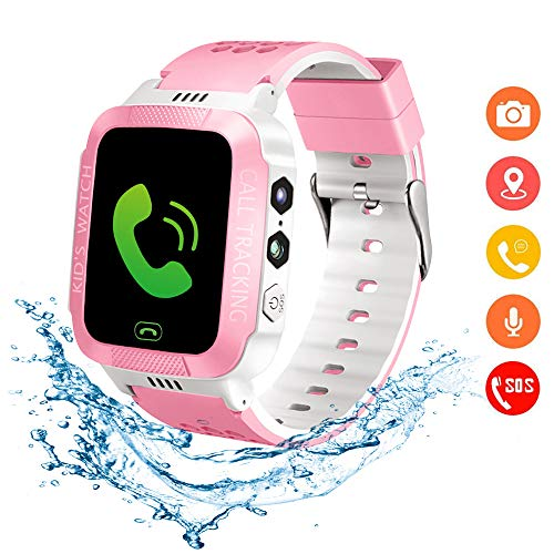 Beacon Pet Kids Smartwatch with GPS Tracker IP67 Waterproof Smart Watch for Kids, Toddlers Phone Watch with Alarm Clocks (White and Pink)