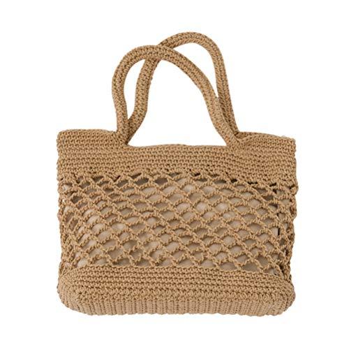 TENDYCOCO Bolso Tejido de Paja Bolsa de algodón portátil para la Playa Bolsos Hechos a Mano Capacidad Tejida Bolsa de Mensajero Monedero (marrón Claro)