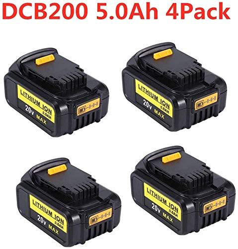 VANTTECH 4 Stück DCB200 5.0Ah 20V MAX Lithium-Ionen Ersatzakku für DEWALT 18V DCB184 DCB200 DCB182 DCB180 DCB181 DCB182 DCB201 für DeWalt Akku