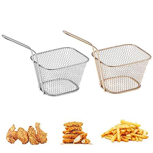 2 Piezas Cesta para Mini Patatas Fritas,Cestas de Frituras,Canastas de Presentación de Alimentos,para Papas Fritas,Cebolla,Camarones,Verduras,Herramientas de Cocina(Plata,Oro Rosa)