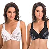 Curve Muse Women's Minimizer Unlined Underwire Bra with Lace Embroidery-2 pack-white-black-42D