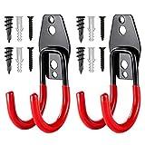 2 piezas Gancho para Colgador de Garaje Dobles Ganchos de Almacenamiento de Garaje Colgadores de Garaje Ganchos Garaje Pesados para organizar herramientas,escaleras,bicicletas (rojo,4.2×2.8×2.6in)