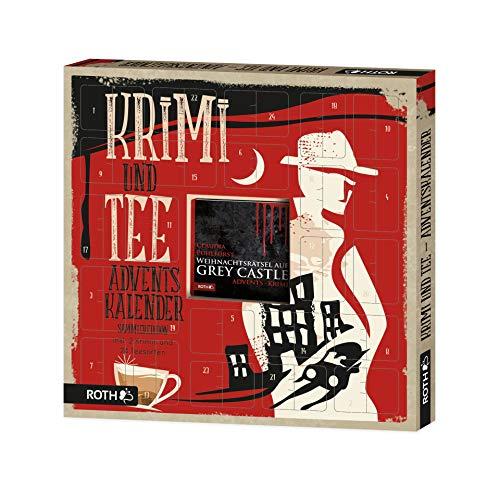 ROTH Adventskalender 'Krimi + Tee' Sammleredition 2020, Tee-Weihnachtskalender mit Buch zum Sammeln, 35cm x 35cm x 4cm
