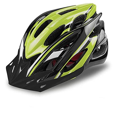 KINGLEAD Casco Bici con Luce di Sicurezza, Casco da Ciclismo Unisex Certificato CE Bici da Corsa All'aperto Sicurezza Casco da Bicicletta Superleggero Regolabile (verde nero)