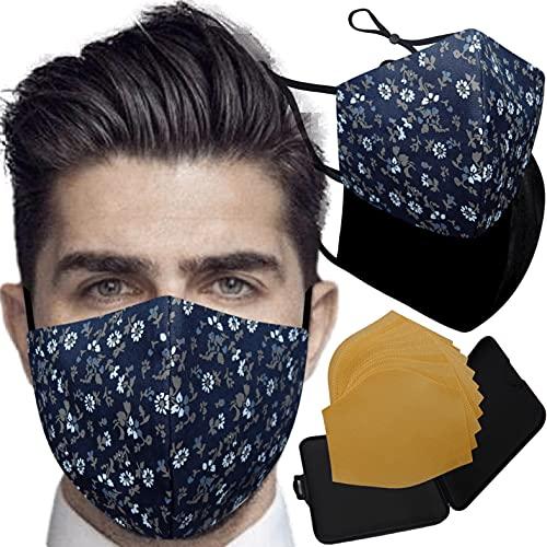 Cussi - Wiederverwendbare Hygienische Stoffmaske, zertifiziert UNE 0065:20 und BFE zertifiziert 99 %, waschbar bis zu 20 Zyklen – Packung mit 2 Masken, Etui, extra Filter (FLORES, schwarz)