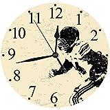 """Yaoni Mode Moderne Horloge Murale Muette 30cm/12"""",Joueur de Rugby en Action Course à Pied Succès au Terrain de Jeu de l'arène Sport, horloges pour la Maison Salon Cuisine Chambre Bureau école"""