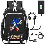 MIAOGOU Sonic Juguete 20 Hot Game Sonic The Hedgehog Mochila Bolsa USB Moda Puerto / Auriculares Mochila Bolsa Adolescente Estudiante Escuela Hombro Bolso para Portátil