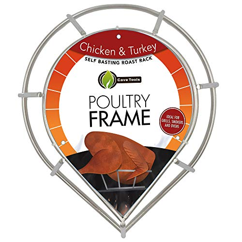Chicken & Turkey Roasting Rack for Smoker Grill or Oven - 2 in 1 Poultry Lifter Replaces Wire V Roaster Pan or Cannon - Stainless Steel Frame Holder Self Bastes Meat for Cooking Baking or BBQ Smoking