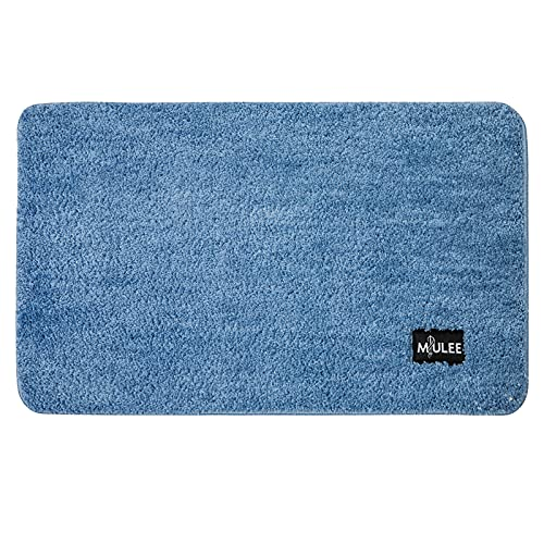 MIULEE Alfombra de Baño Antideslizante Absorbente Microfibra Alfombrilla Baño Lavable a Máquina Alfombra Ducha Baño Cocina Puertas de Entrada Pasillo para Dormitorio Salon Modernas 50x80 cm Azul