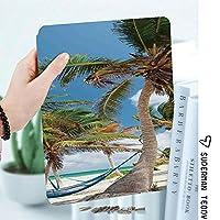 軽量版IPad ケース iPad2 ケース iPad3 ケース iPad4 ケース スタンド機能 レザー(PU) オートスリープ 傷つけ防止 2つ折タイプ iPad2/3/4世代専用スマートカバーハンモックヤシの木砂の太陽が降り注ぐビーチの風景、