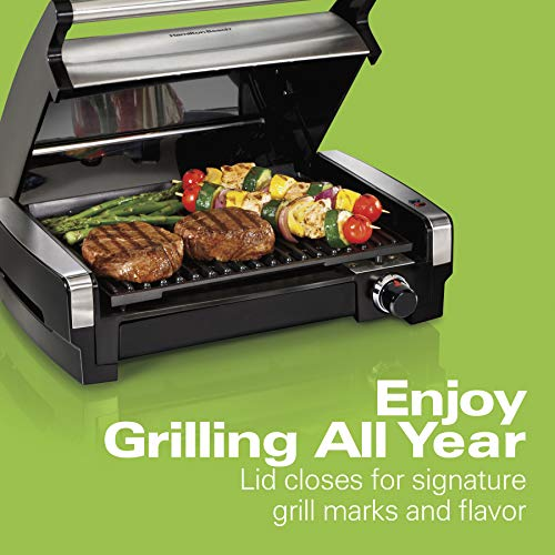 Hamilton Beach 8-Serving Electric Indoor Searing Grill with Removable Easy-to-Clean Nonstick Plate, Extra-Large Drip Tray, Stainless Steel (25360)