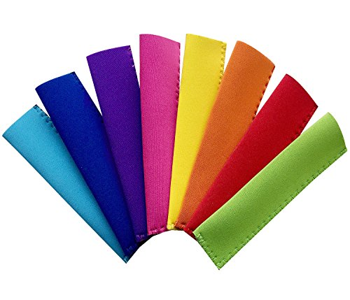 Ozera 8 Pack Antifreezing Popsicle Bags Freezer Popsicle Holders Reusable Neoprene Insulation Ice Pop Sleeves - Bright Colors & Stitched Edges Design