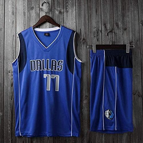 Ropa Trajes de baloncesto para niños, Dallas Mavericks # 77 Luka Doncic NBA suelta camiseta transpirable Tops Tops de baloncesto Camisetas deportivas casuales + pantalones cortos, azul, xl (niño) 145