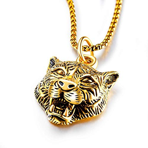 Pendant Necklace Jewelry Punk Stainless Steel Tiger Pendant Chain Necklace Hip-Hop Jewelry For Men-Gold-Color
