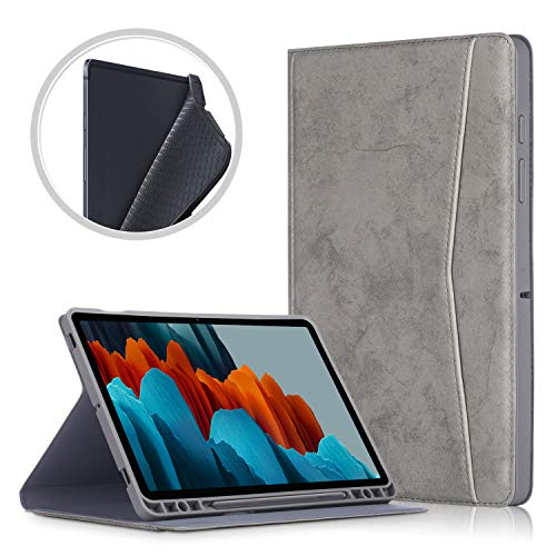 TTVie Case for Samsung Galaxy Tab S7+ - Premium PU Leather Folio Stand Cover Case with Auto Wake/Sleep Function for Samsung Galaxy Tab S7+ 12.4' Tablet 2020 Release, Gray