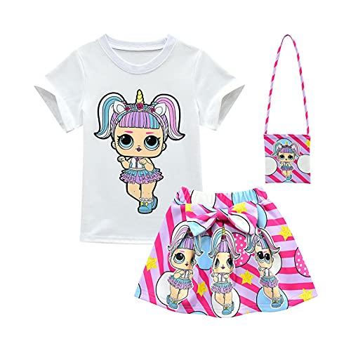 ALAMing - Maglietta a maniche corte con bambola LOL Surprise, t-shirt con bambola, per bambine Stile 01 4-5 Anni