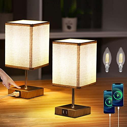Lightess 2 Piezas Lámpara de Mesa Táctil Control Lámpara Mesita de Noche LED Regulable Beige Pantalla de Tela Lámpara Sobremesa 2 Puertos USB para Dormitorio, Habitación de Bebé, Incluye Bombillas