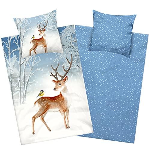 Aminata Kids Biber Bettwäsche Hirsch 135x200 Baumwolle Winter-Landschaft-Bettwäsche Hirsch-REH-Motiv Biber-Kinder-Bettwäsche für Weihnachten, weiß blau mit Schneeflocken Schnee