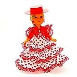 Folk Artesanía Muñeca artesana de 25 cm con Vestido Andaluza o Flamenca con Sombrero Nueva y Original (Blanco Lunar Rojo)