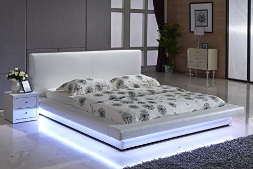 Container Furniture Direct Dyna Collection Modern Upholstered Faux Leather Platform Bed with Headboard and Color Changing LED Lighting, California King, White