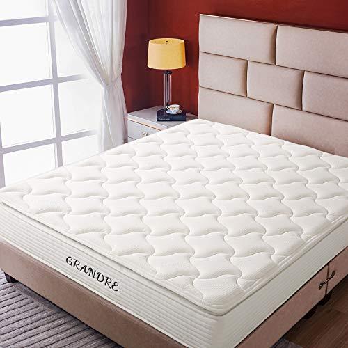 Grandre 10 Inch Mattress Queen Size Medium Firm, Gel Memory Foam and Innerspring Hybrid Mattress Queen in a Box, Bamboo Pillow Top, Back Pain Relief