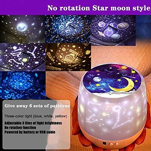 Noche de la luz decoración del dormitorio de la luna de la estrella del proyector del cielo luminaria niños rotación colorido de carga USB regalo de cumpleaños romántica