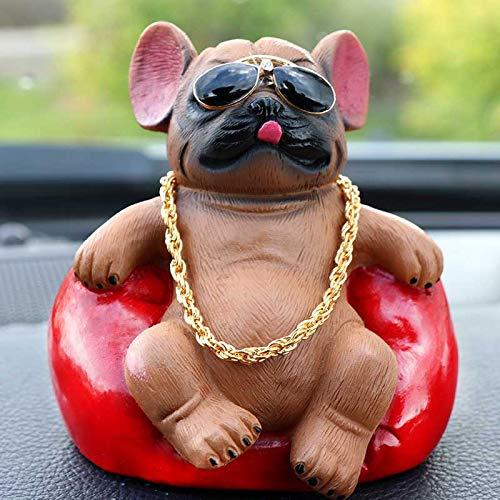 Auto schwingt rauchenHund Bruder Auto Dekoration Bulldogge 9.3 * 7.5cm Braun