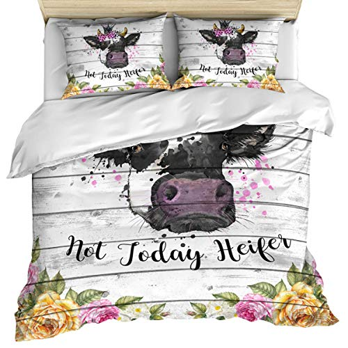 3 Piece Bedding Set Not Today Heifer Cow Girl Retro Wood Board Flowers with 2 Pillow Shams for Kids/Teens/Adults/Toddler