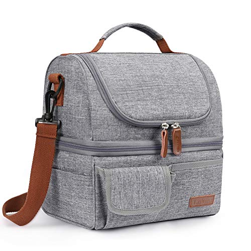 LOKASS Lunch Bag Double Deck Insulated Lunch Box Large Cooler Tote Bag with Removable Shoulder Strap Wide Open Thermal Meal Prep Lunch Organizer Box for Men/Women/Adults/Work/Outdoor, Gray