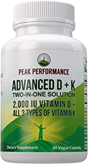 Advanced Vitamin D 2000 IU with All 3 Types of Vitamin K by Peak Performance. Vitamin D3 and Vitamin K2, K1, MK-7 (MK7), M...