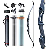 D&Q Bow and Arrow for Adults Takedown Recurve Bows Hunting Bow Archery Set Adult Longbows Kit 56' 30-50lb Right Hand Bow Aluminum Alloy Riser for Beginner and Professional Hunting Shooting(Black,40lb
