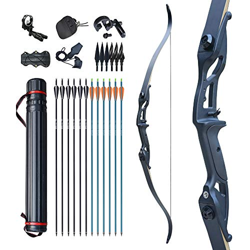 """D&Q Bow and Arrow for Adults Takedown Recurve Bows Hunting Bow Archery Set Adult Longbows Kit 56"""" 30-50lb Right Hand Bow Aluminum Alloy Riser for Beginner and Professional Hunting Shooting(Black,40lb"""