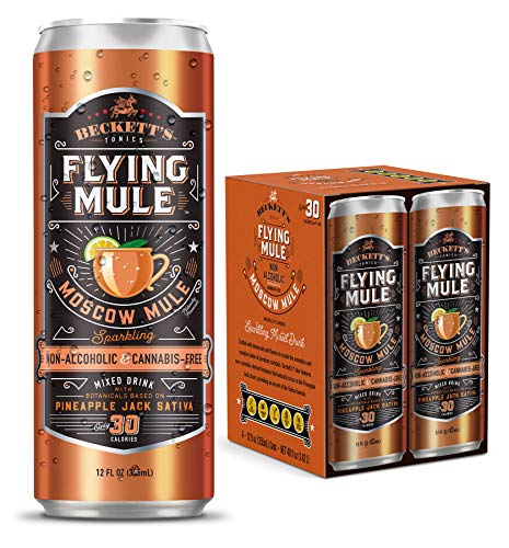 Beckett's FLYING MULE MOSCOW MULE   Non-Alcoholic Tonics   Sparkling Cocktail with Distilled Botanicals   Gluten-Free NA Seltzer Beverage   Low Calorie   12 fl oz Cans (Pack of 8)