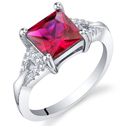 Created Ruby Sterling Silver Sweetheart Ring Size 8