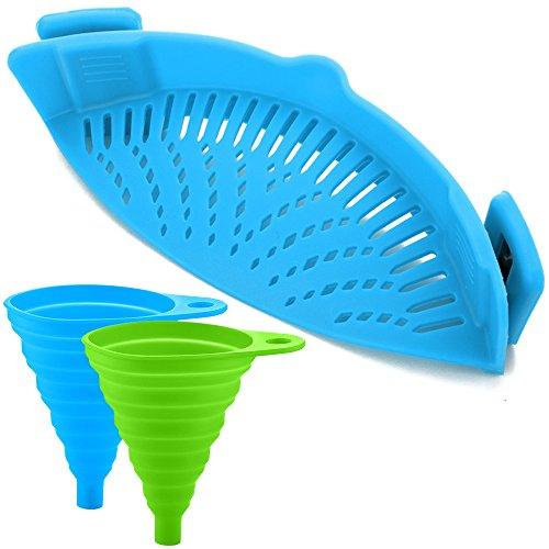 Égouttoir avec Clip en Silicone avec 2 Entonnoirs Pliants, FineGood mains libres Passoire à Clipser Verseur Résistant à la Chaleur pour Pâtes Légumes Nouilles Pot Bol Casserole Poêle - Bleu