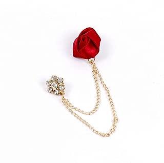 AKOAK Cute Charm Red Ribbon Rose Rhinestone Flower Gold Plated Alloy Chain Cravat Pin Brooch Collar Clip Jacket Chain