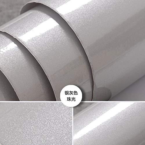 LZYMLG Europäische Selbstklebende Tapete Farbe Flash Pvc Tapeten Küchenschrank Tür Möbel DIY Aufkleber Vinyl Dekorative Folie Silver grey