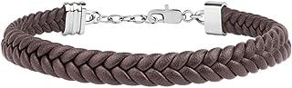 Bracciale da uomo, Collezione Maserati Jewels, in acciaio e pelle naturale, regolabile con chiusura moschettone - JM418ANI03