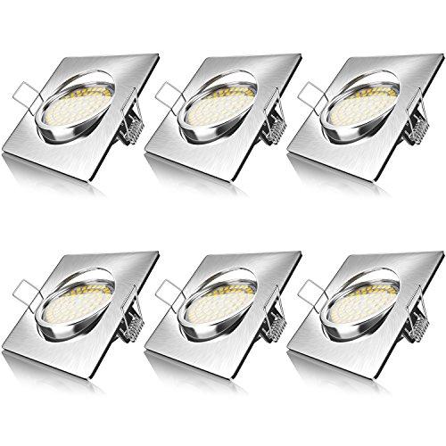 Brandson - 6 x Set Ultra Flach LED Deckenspot eckig warmweiß schwenkbar - Einbauleuchte - Einbauspot Deckenstrahler - Slim Aluminium Druckgussrahmen Edelstahl Optik