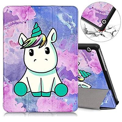 ZhuoFan Funda Huawei Mediapad T3 10, Cárcasa Cuero PU Silicona Magnetica Función de Soporte y Auto-Desbloquear Cover Piel Protector Compatible con Huawei Mediapad T3 10 9,6 Pulgadas Tablet, Unicornio