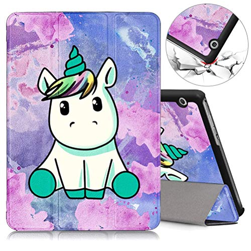 ZhuoFan Huawei Mediapad T3 10 Case, Slim Lightweight Leather Stand Flip Cover with Pattern, Magnetic Adsorption for Huawei Mediapad T3 10' Tablet, Unicorn
