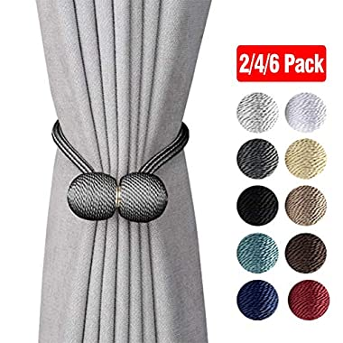 DEZENE Magnetic Curtain Tiebacks,The Most Convenient Drape Tie Backs,2 Pack Decorative Rope Holdback Holder for Big,Wide or Thick Window Drapries,16 Inch Long,Dark Grey