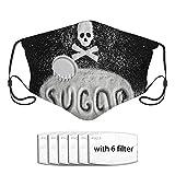 Qefgjbw Texto Sugar y forma de calavera de Sugar On Black Concept Cover Set Paño facial reutilizable Filtro de repuesto de carbón activado facial lavable con válvula transpirable