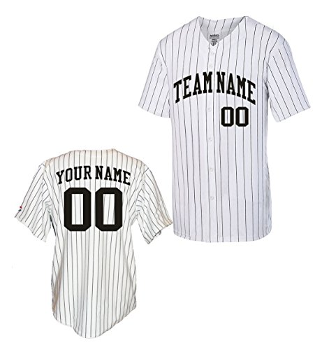 Custom Pinstripe Baseball Jersey (X-Large, Black)