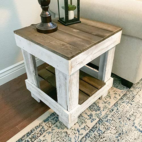 Del Hutson Designs Natural Reclaimed Barnwood Rustic Farmhouse End Table USA Handmade Country product image