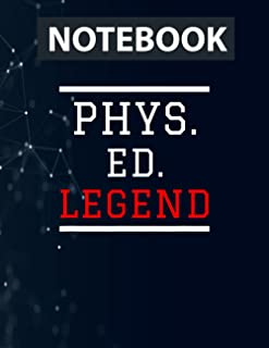 Physical Education Teacher- Phys. ED. Legend PE Design Ruled Notebook - Back Pocket, Strong Twin-Wire Binding with Premium...